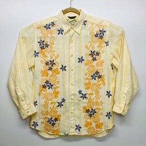 NEW TOMMY BAHAMA Size L 100% LINEN FLORAL SHIRT
